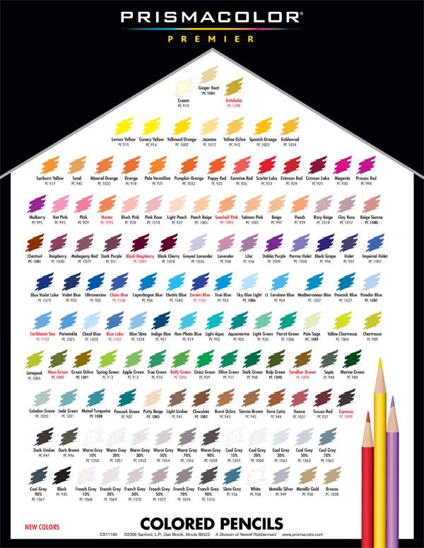 Prismacolor Colored Pencil Color Chart