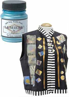 Jacquard's Lumiere metallic paints are a perfect choice for fabric and leather.